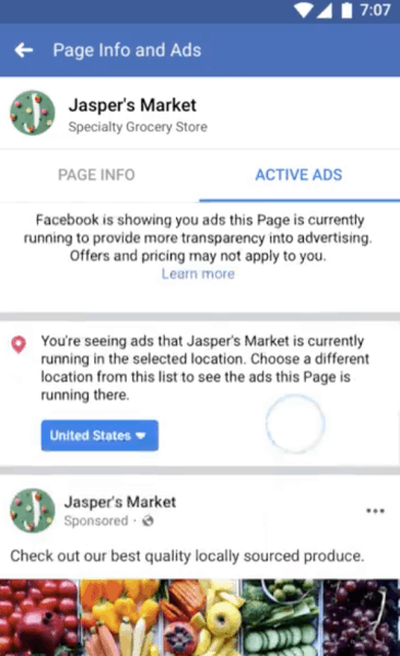 Facebook Update: Now you can see all active ads running on Pages 5