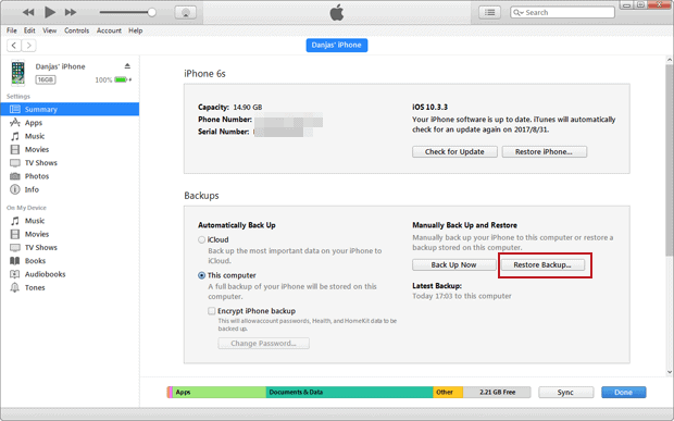 Recover iPhone files from an iTunes backup