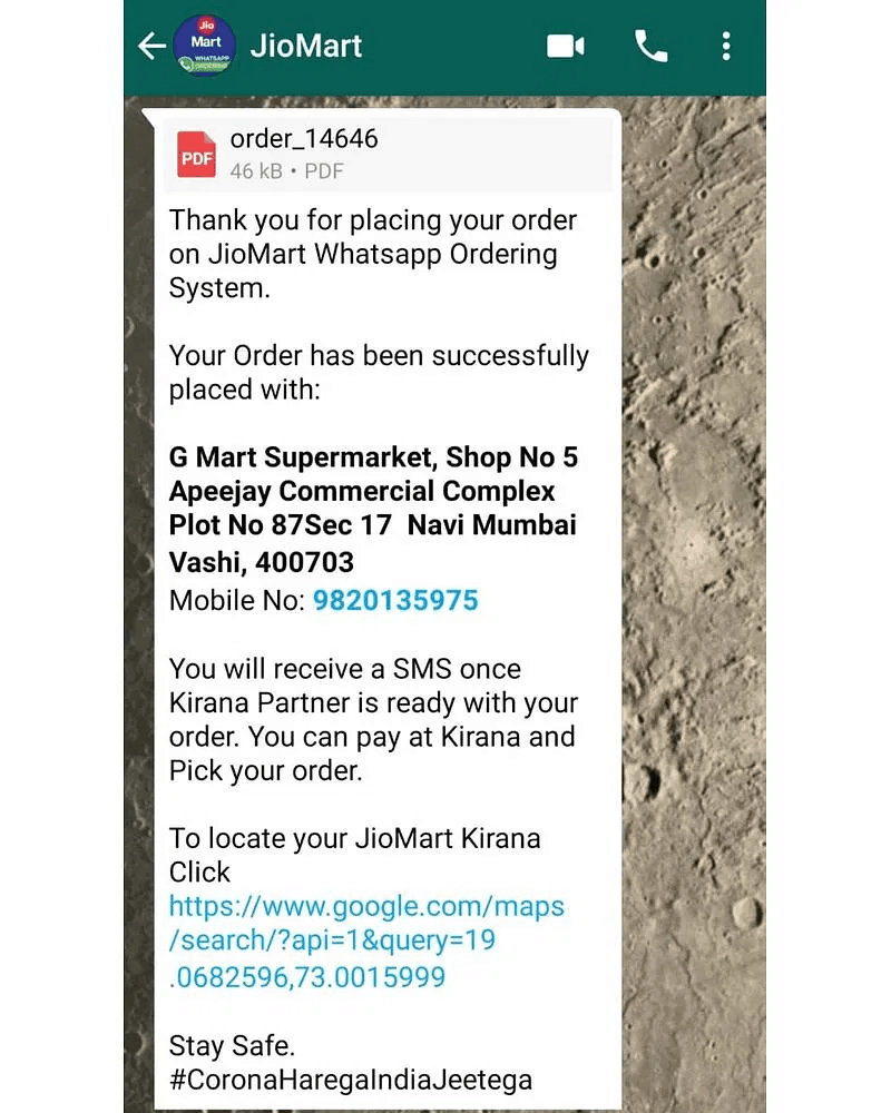 How to Order Online from Reliance JioMart on WhatsApp 2