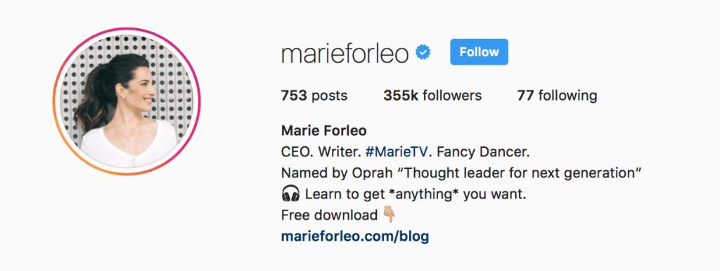 marie-forleo-instagram-bio