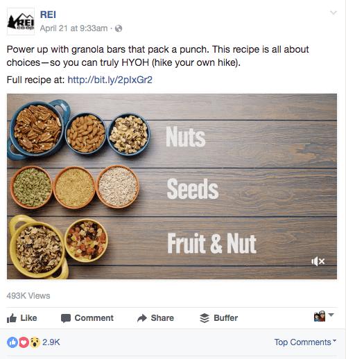 facebook marketing content