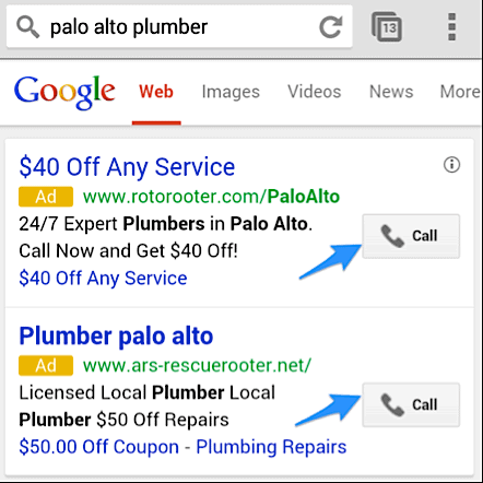 google ads call to action