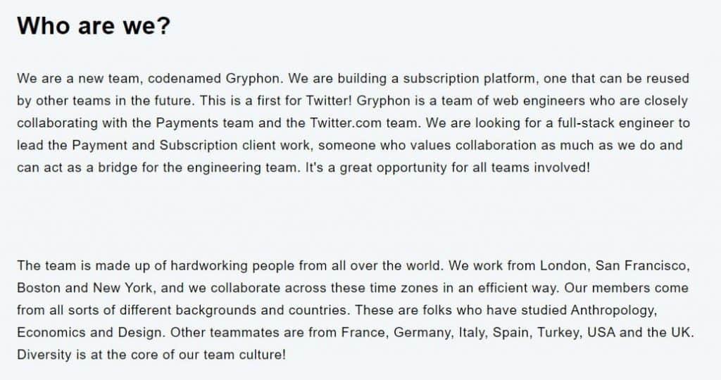 project gryphon(job listing)